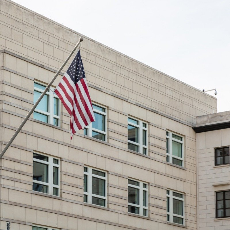 State building with American flag