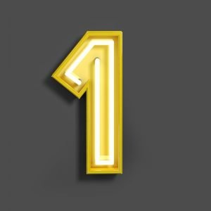 Yellow number 1 on dark gray background