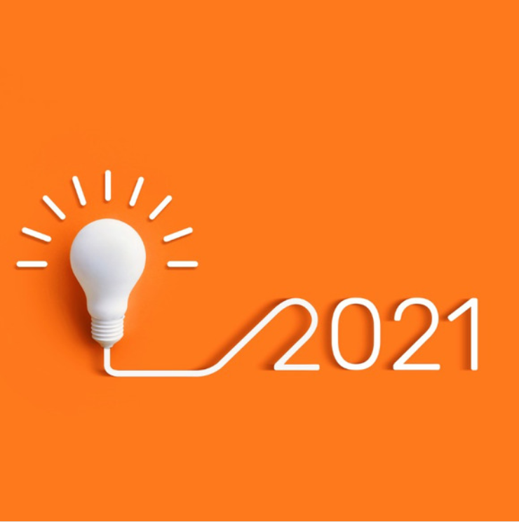 Lightbulb and 2021 on orange background